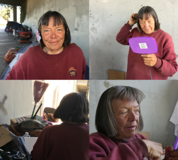 homeless woman getting ready for photo