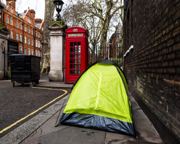 homeless person in tent in london