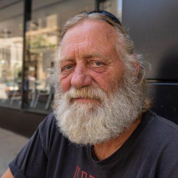 Elderly homeless man in Denver