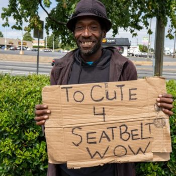 Charlotte Homeless Man Has the Best Cardboard Signs