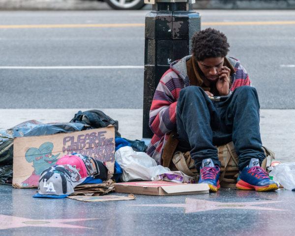 Homeless man on Sunset Boulevard in Los Angeles