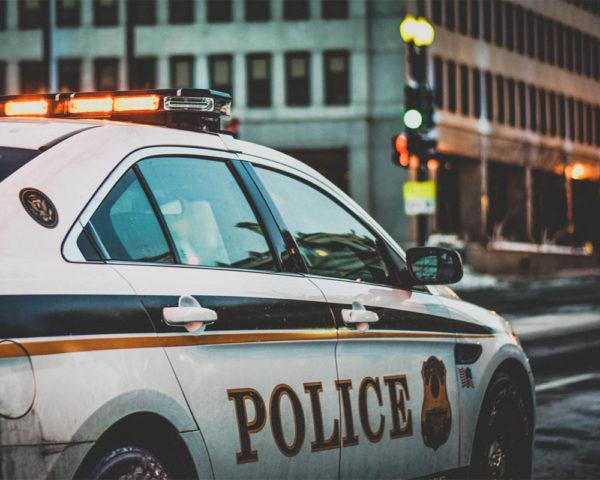 Police car on a city street