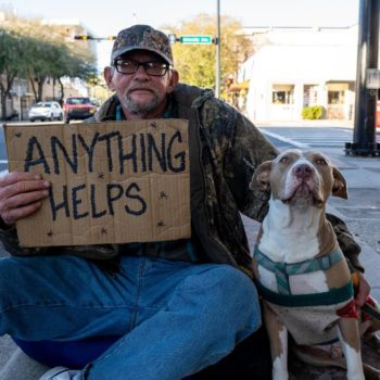 Homeless Veteran Flying a Sign in Gainesville