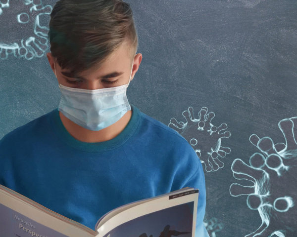 student wearing mask during coronavirus in school setting