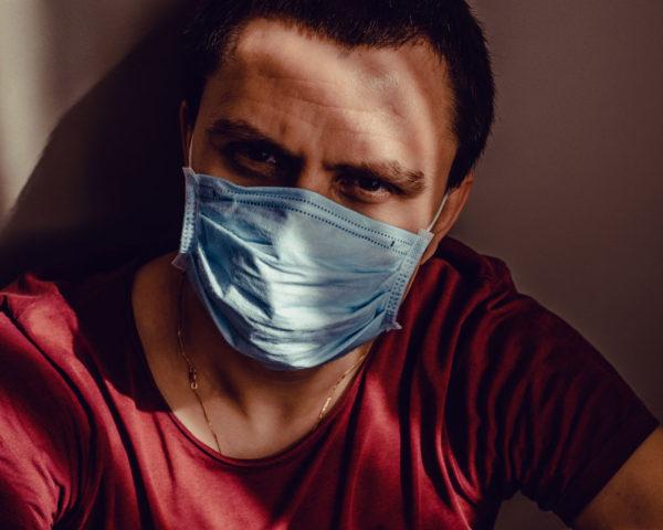 Man wears face mask