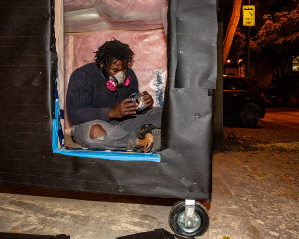 Khaleel Seivwright builds a tiny shelter