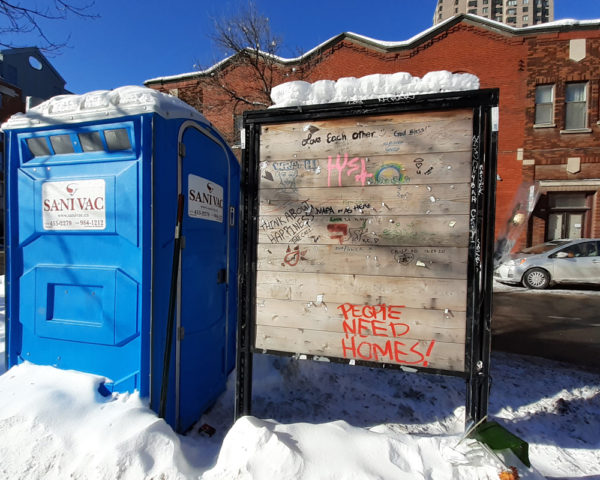 Porta Potty where homeless man froze to death