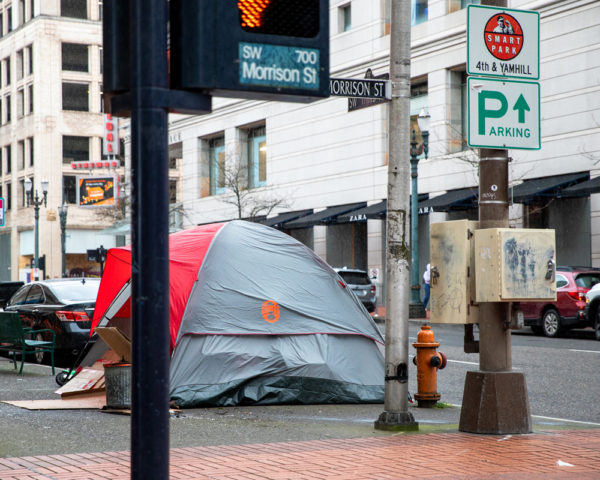 Homeless Tents Spilling into Portland City Sidewalks.