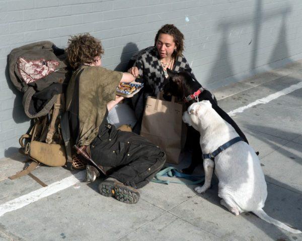 homeless people eating