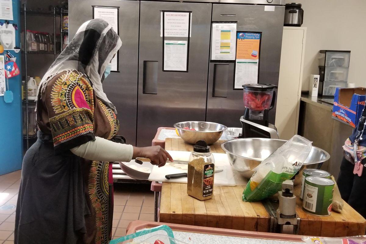 Preparing food in Wilmington Kitchen