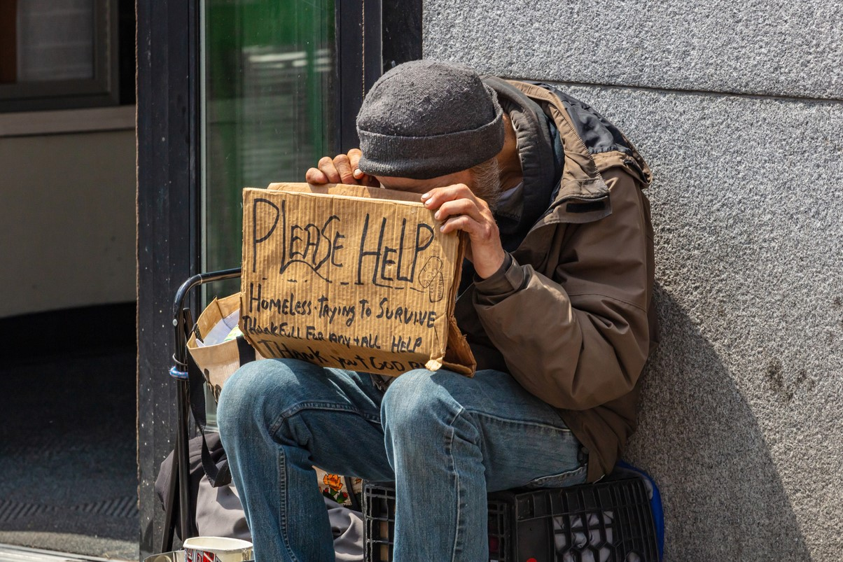 homeless person in need