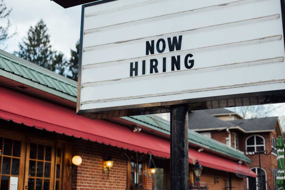 hiring for work sign